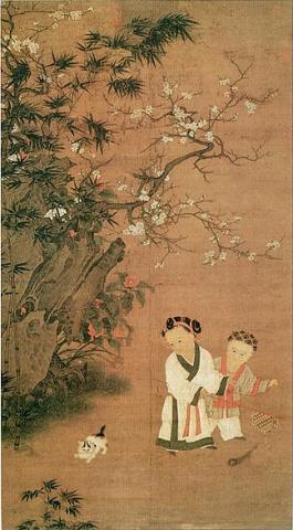 Kinder spielen im alten China